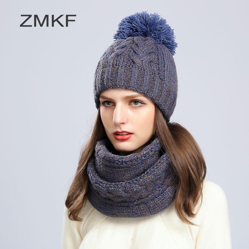 2017 ZMKF New Fashion Women Winter Hat Brand Skullies Beanies Knitted Hat Girls Warm Cap Pom Beanie Hats And Fashion scarf