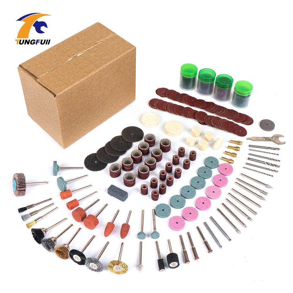 Tungfull 361 pcs/lot outils électriques Dremel outil rotatif accessoire Set convient pour Dremel perceuse meulage polissage Dremel accessoires