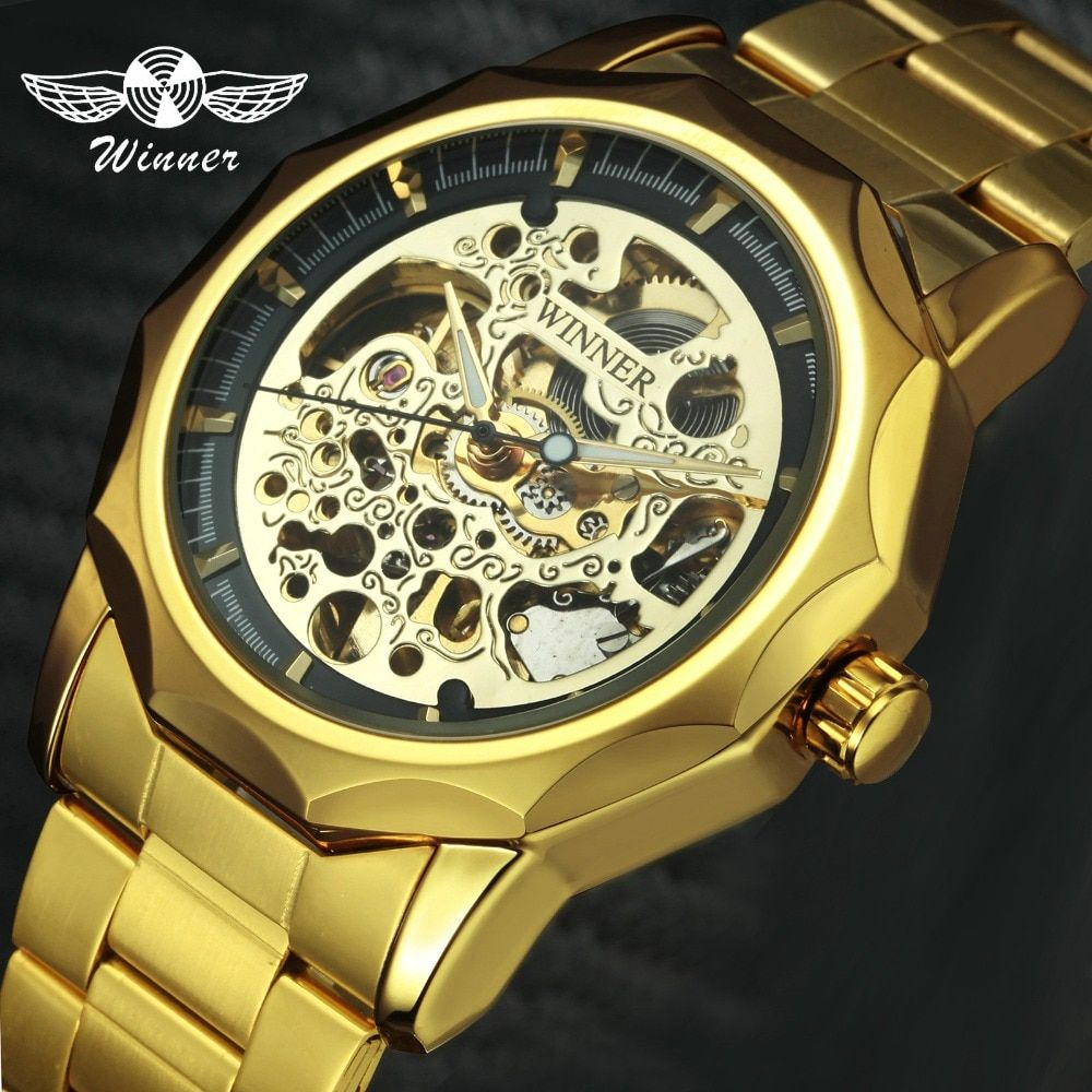 Golden Skeleton Watch Men 2019 WINNER Automatic Mechanical Mens Wataches Top Brand Luxury Steel Strap Punk Fashion Wristwatch