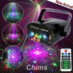 Chims RGB ضوء المرحلة حزب ضوء الليزر 96 نمط جهاز عرض ليزر Led الملونة DJ الموسيقى عيد الميلاد ديسكو ضوء مشاهدة الرقص DJ نادي بار
