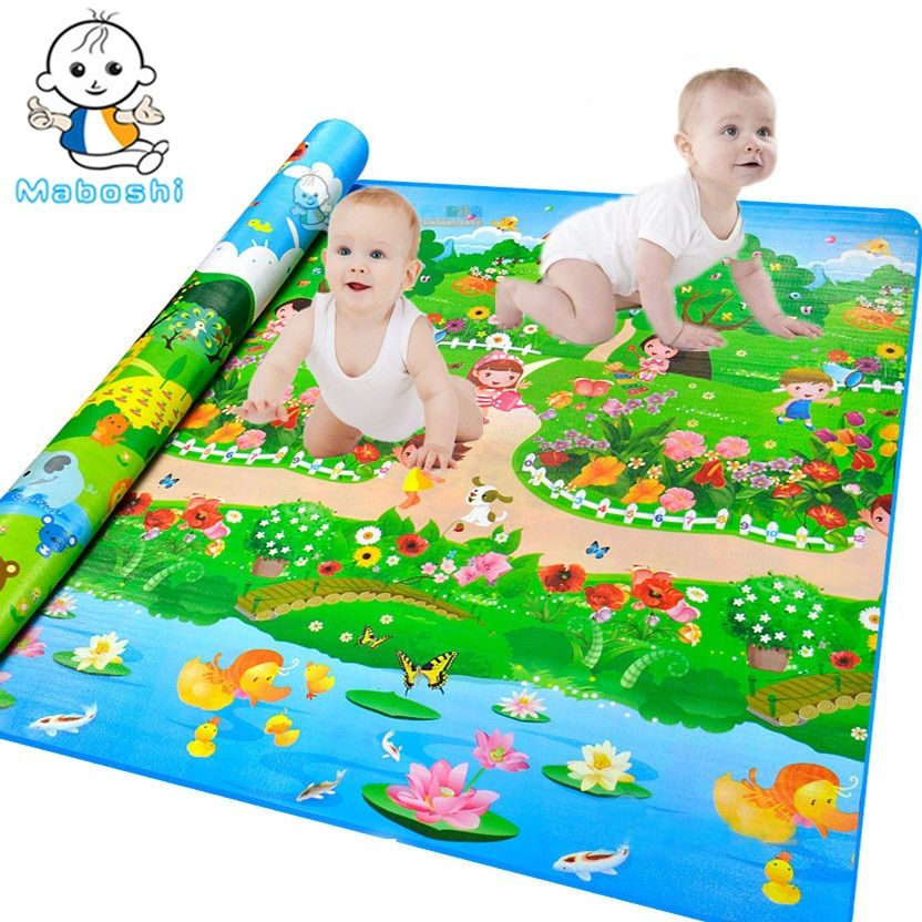 Maboshi Waterproof Quality Children Play Mat Botanical Garden+Forest Park Kids Game Mat Soft Eva Foam Carpet Baby Crawling Mat