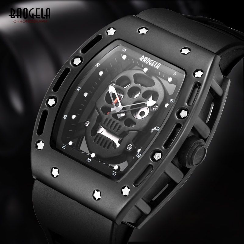 Baogela Mens Silicone Analogue Quartz Watches Fashion Military Wateproof Skeleton Wristwatch for Man 1612 Rose Gold