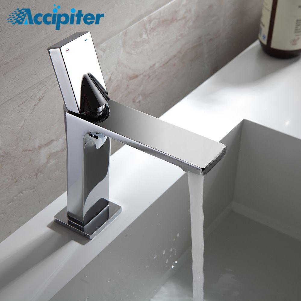 Royal Guard Style robinet Chrome et noir robinet eau froide et chaude bassin robinet lavabo mitigeur en laiton fait pont monté