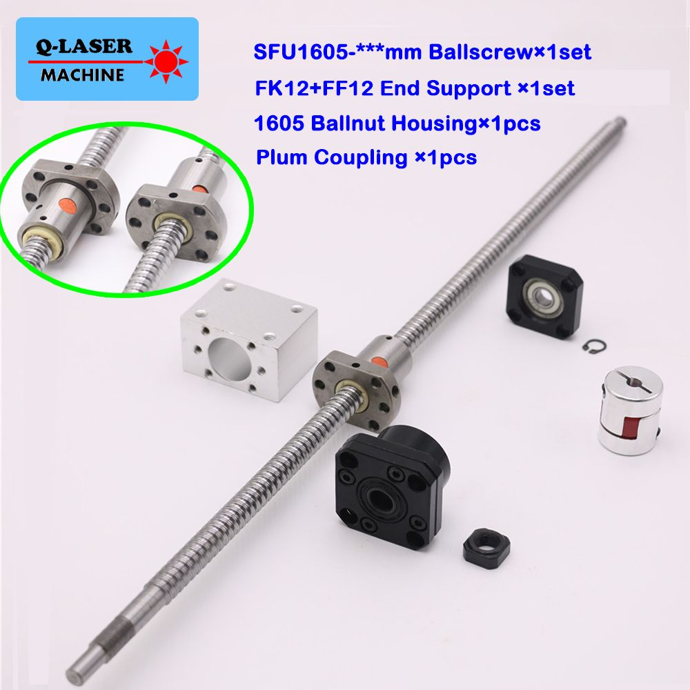 SFU1605 Ball Screw Linear Set C7 Ballnut Nut Housing FK12 FF12 Fixed Floated End Support Plum Coupling for CNC Machine Parts