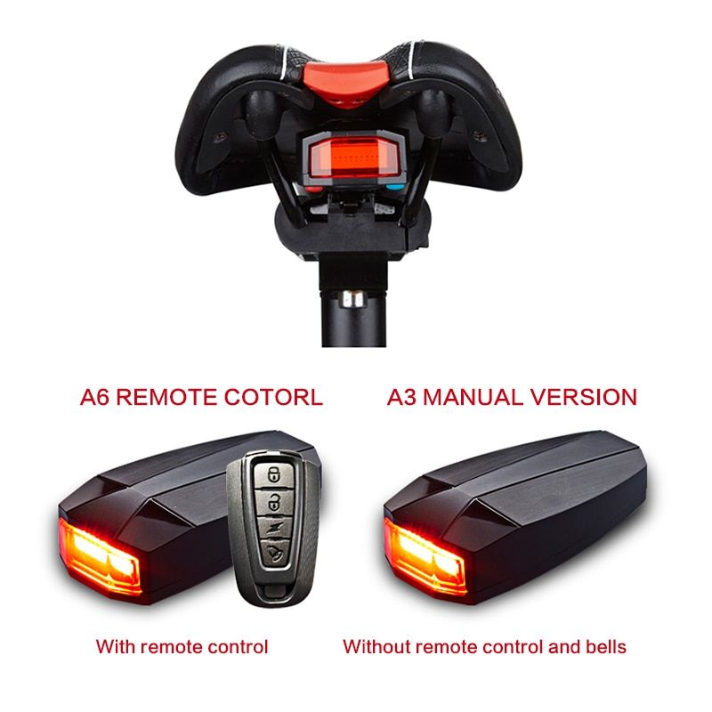4 In 1 Anti-theft Bike Security Alarm Wireless Remote Control <font><b>Alerter</b></font> Taillights Lock Warner Waterproof Bicycle lamp Accessories