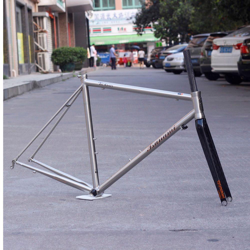 TSUNAMI Chrome Frame Carbon Fork Heat Treatment Steel Road Bike 700C Classic CR-MO Frameset Caliper Brake Silver or Chameleon