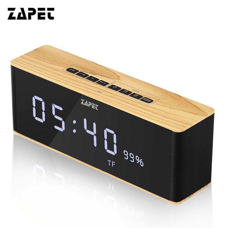 ZAPET Speaker Portable Bluetooth Speaker Wireless Stereo Music Soundbox with LED Time Display Clock Alarm <font><b>Loudspeaker</b></font>