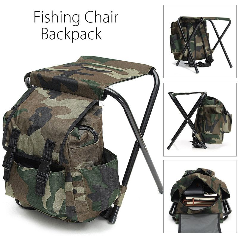 Foldable Fishing Chair Backpack Camouflage Oxford Cloth&Metal Tube Portable Fishing Equipment Bifunctional Fishing Bag And Chair