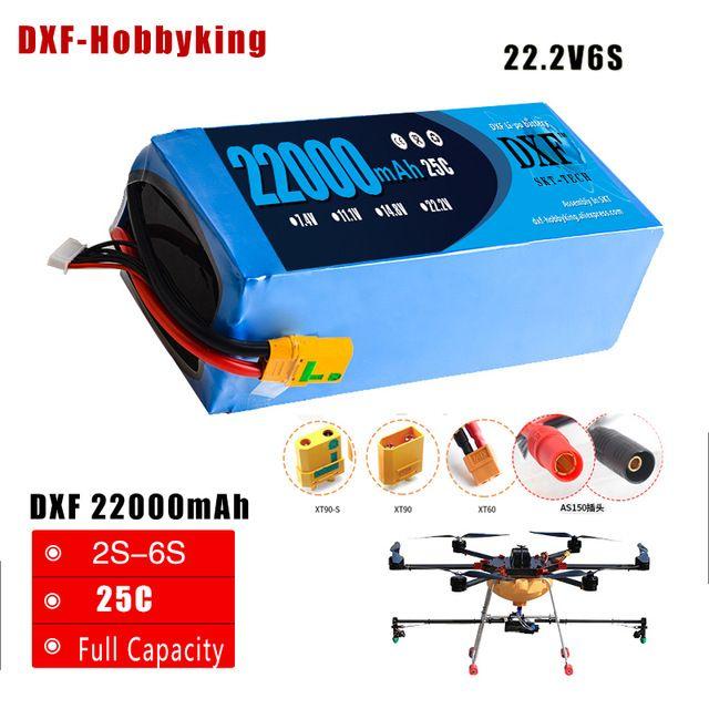 2018 DXF Lipo Battery 22.2V 22000mAh Lipo 6s 25C Battery EC5 Plug Batteries for Quadcopter UAV Drones RC Helicopter Drone