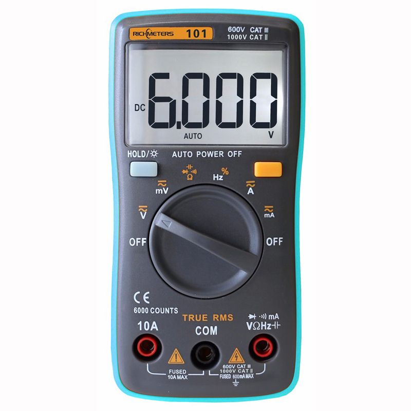 RM101 Digital Multimeter Voltage Tester Ammeter Multimeter AC/DC Voltage Amp Current Resistance Tester 102/098/100/109/111