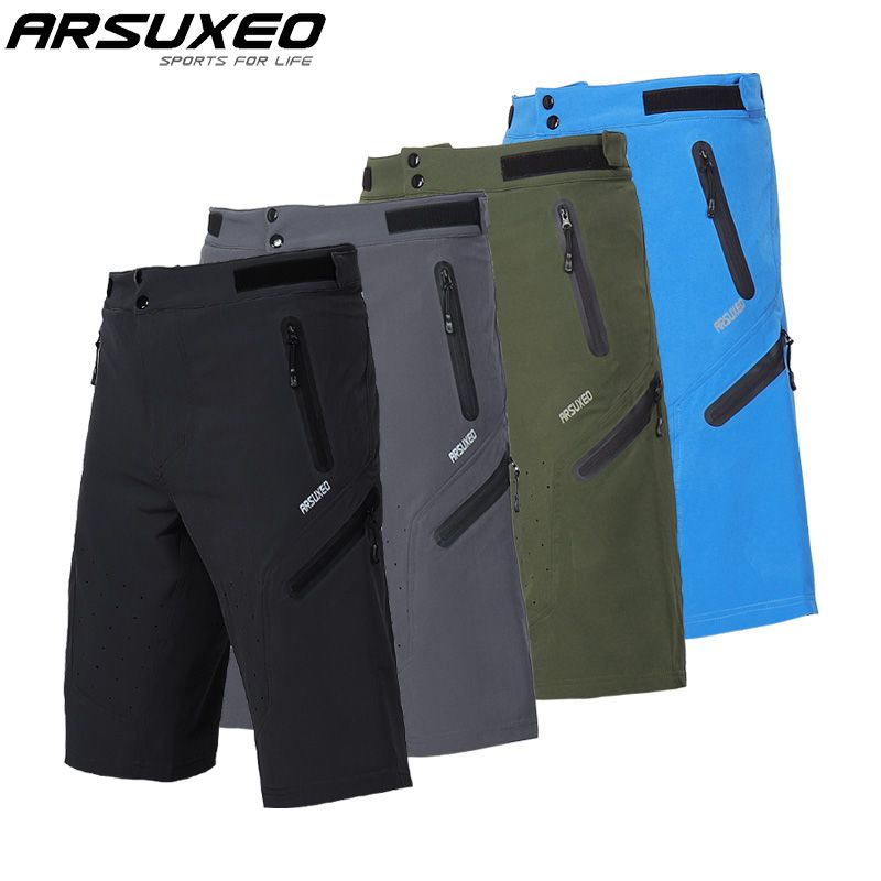 ARSUXEO Mens Outdoor Sports Cycling Shorts Downhill MTB Shorts Mountain Bike Shorts Breathable Water Resistant 1703A