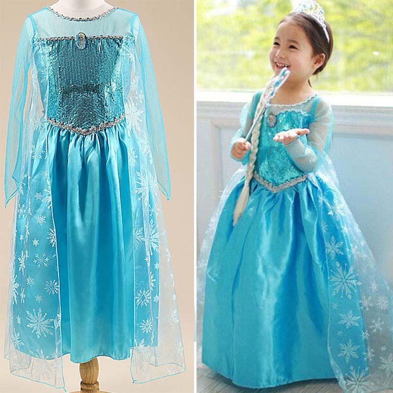 2017 summer children anna elsa dresses for kids dress girl elza costume vestidos infant rapunzel frocks princess sofia Halloween