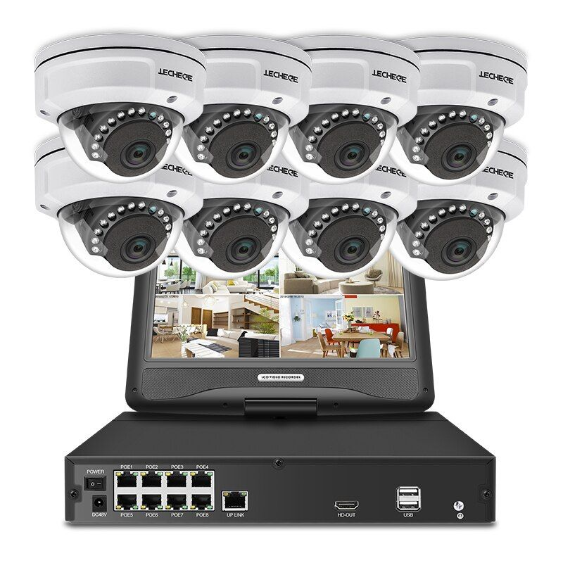 Techege 8CH 1080P POE NVR kit With 10.1'' LCD Monitor 2MP 3000TVL Vandalproof PoE IP Camera Night Vision Video Surveillance Kit