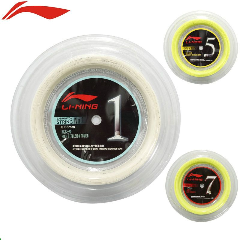 Li-Ning Badminton Strings 200 Meters China Nation Team's Lining No.1/5/7 Big Roll Durability Repulsion Power Net Top Quality