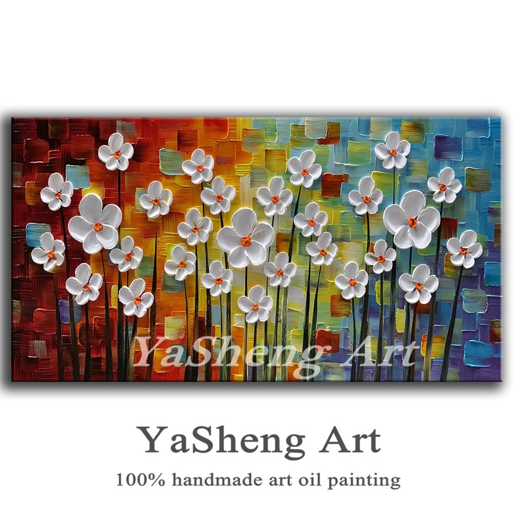 100% Hand-painted Oil Painting on Canvas Palette knife Flowers Paintings House living room Decor Wall Abstract Art Picture