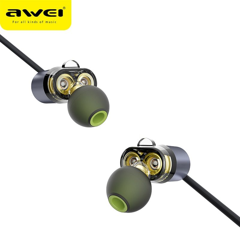 AWEI Newest X650BL Bluetooth Headset Dual Driver Wireless Headphones Bluetooth Earphones with Mic Super Bass Earbuds for iPhone