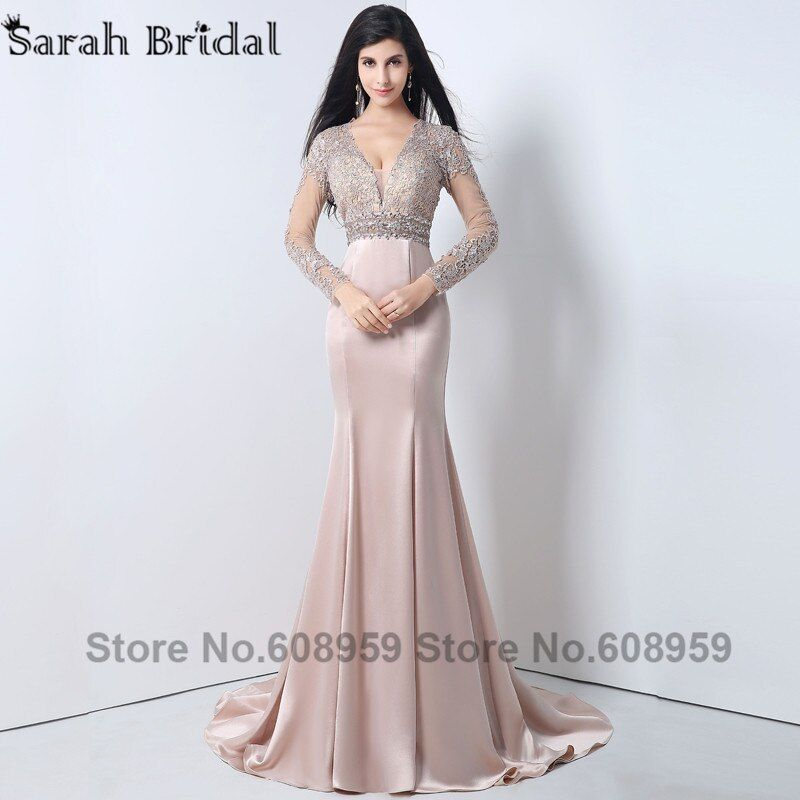 Sexy Appliques Beaded Mermaid Formal Evening Dresses 2017 Sheer Long Prom Dresses Full Sleeves Special Robe De Soiree  YLN004