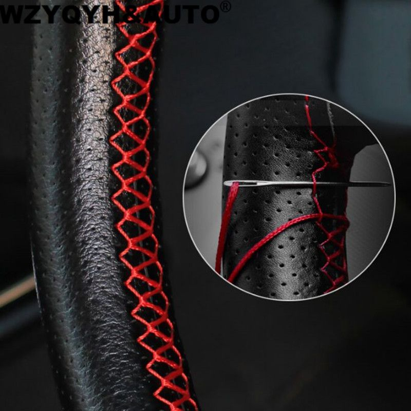 DIY Steering Wheel Covers/Extremely soft Leather braid on the steering-wheel of Car With Needle and Thread Interior accessories