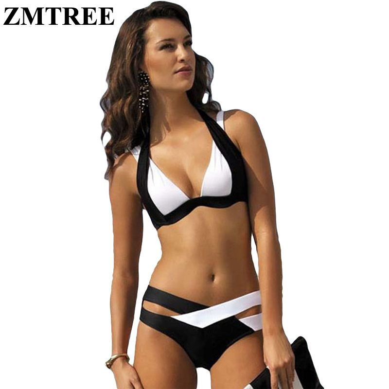 ZMTREE New Summer Sexy Patchwork Bikini Woman Halter Swimsuit 2016 Bandage Swimwear Best Soft Beachwear Maillot De Bain Biquini