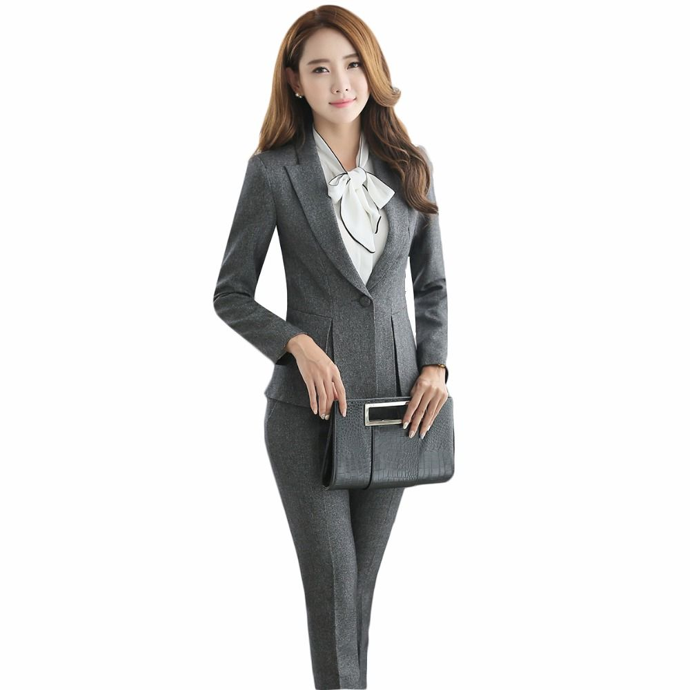 Fall blazer with trousers female 2017 officer uniforms designs women business elegant grey pant suits largest size 4XL for work