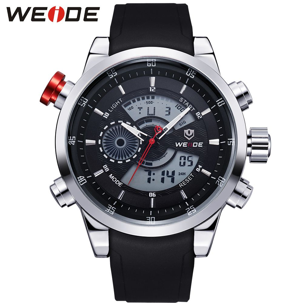 WEIDE Men's Military Sport Quartz Army Watch Back Light Stopwatch Black PU Strap Band Buckle Date Day Alarm Watches for Men