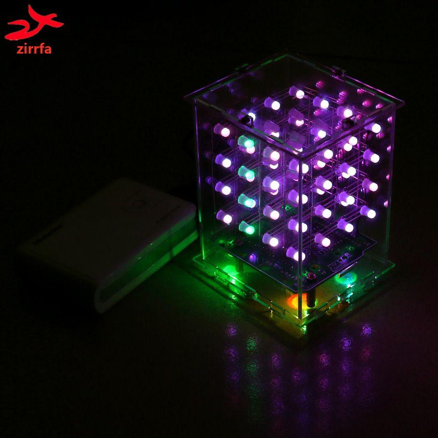 Zirrfa NOUVEAU 3D 4X4X4 RGB cubeeds Pleine Couleur Led d'affichage Électronique DIY Kit 3d4*4*4 pour Audrio