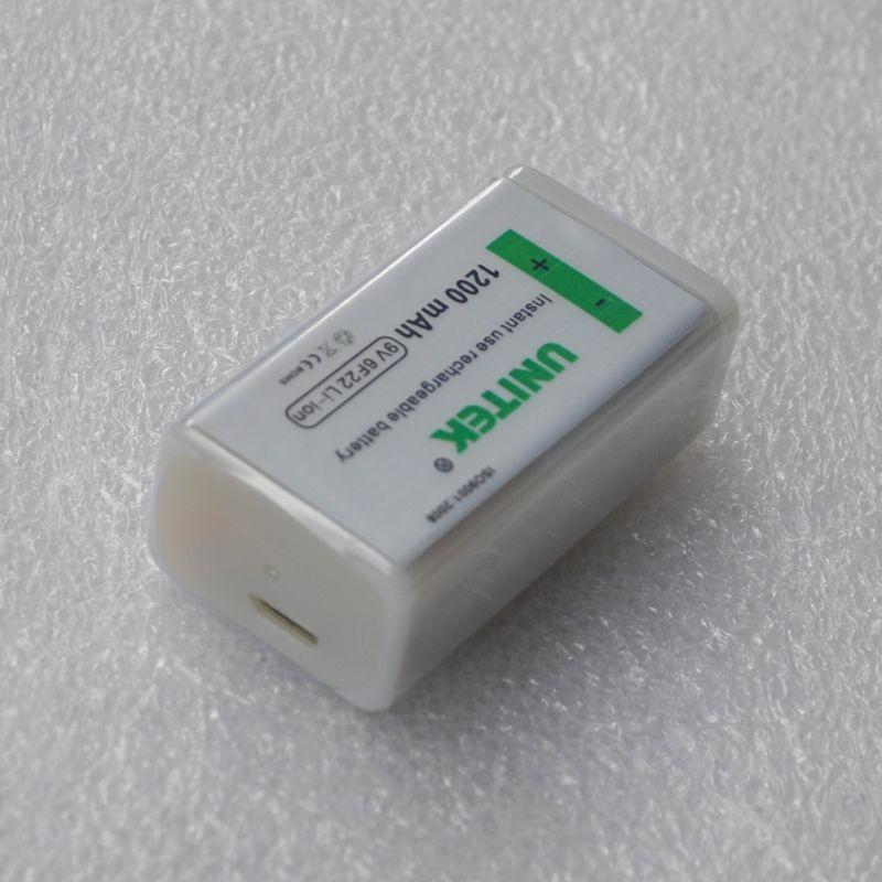 1 pc UNITEK usb rechargeable batterie 1200 mAh 6F22 pile au lithium 9 v batterie pour microphone Guitare EQ fumée alarme multimètre