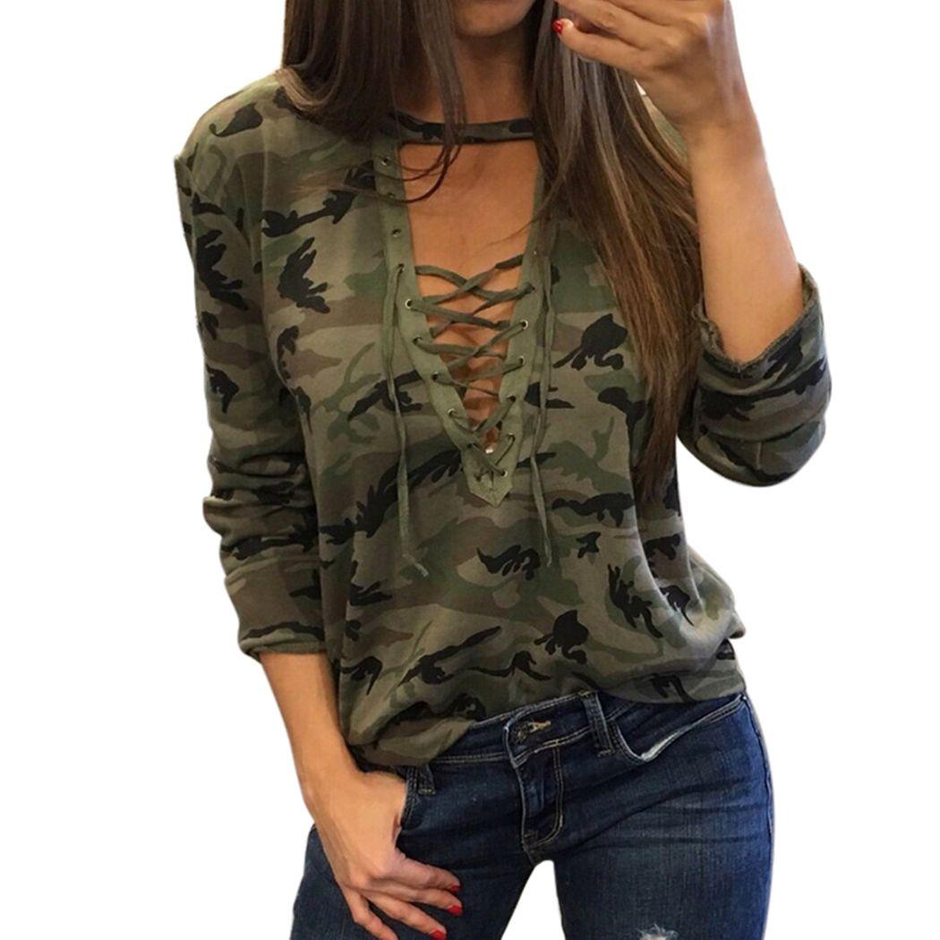 2018 Mujeres Atractivas de la Camiseta de Camuflaje V Neck Lace Up Camiseta Harajuku Chándal Feminino Bandege lacet camiseta Floja Superior