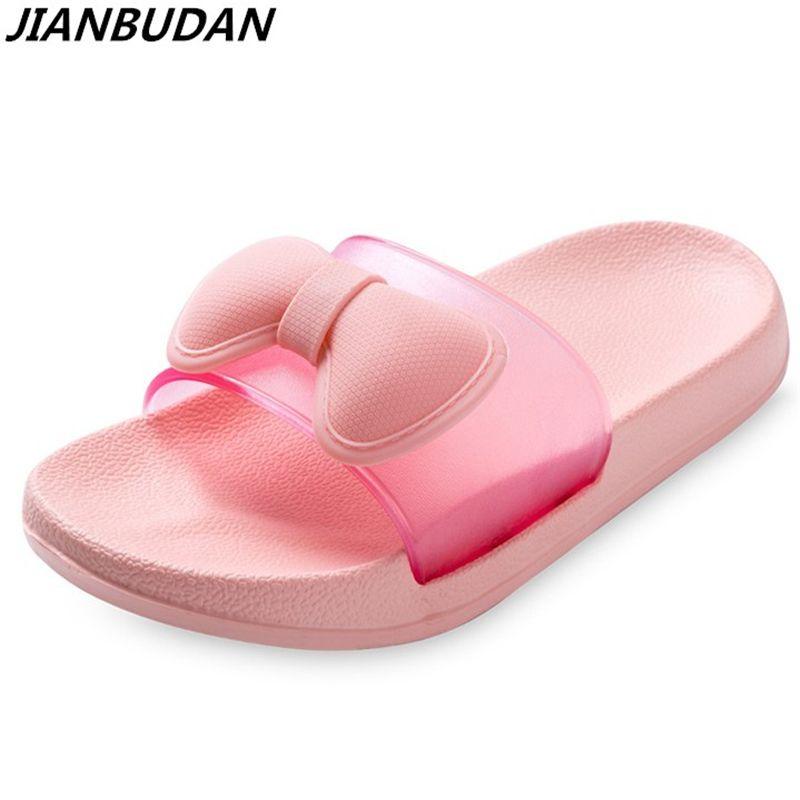 Nudo de la mariposa de luz cómoda transpirable zapatillas de casa lindo plana antideslizante zapatillas de baño desgaste inferior suave zapatos de Playa