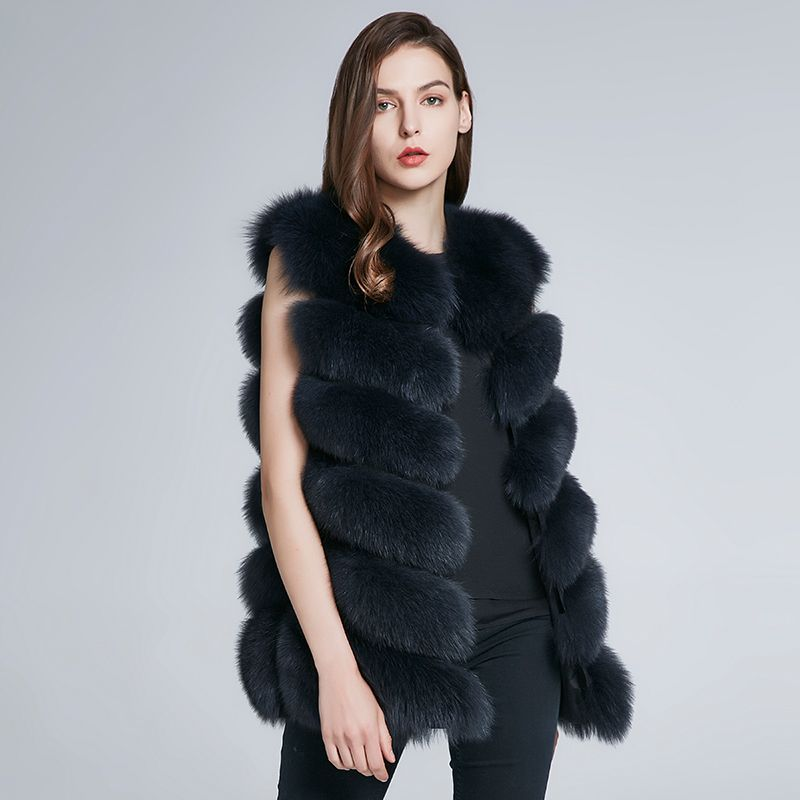 JKP winter new natural fox fur vest jacket women long section vest fur coat H6X-65C