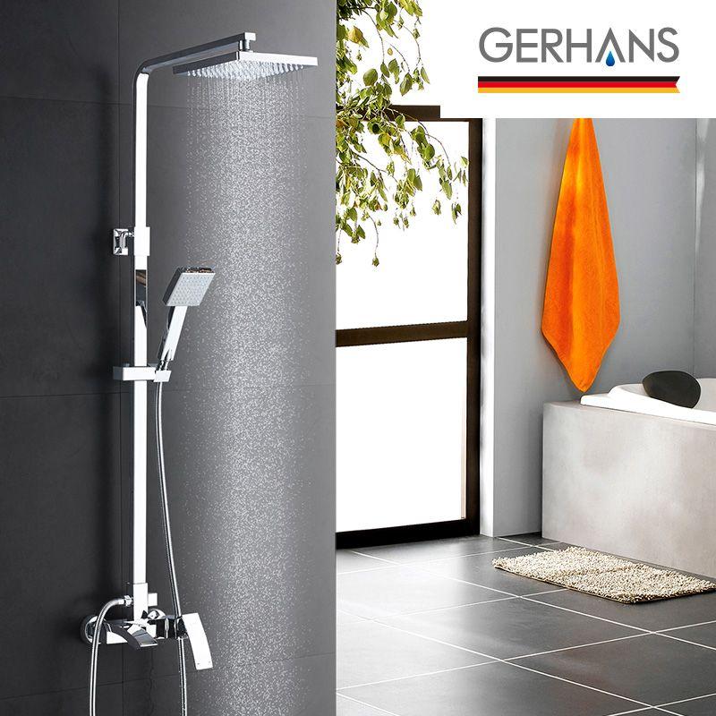 GERHANS Edithedge Luxury Rain Bathroom Water Mixer Shower Set Modern Stainless Steel Shower Bathtub Shower Faucet Syetem K19014