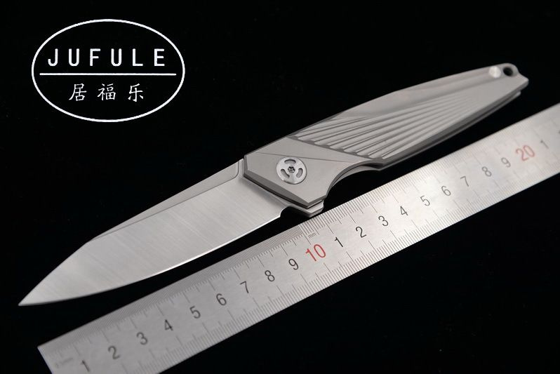 JUFULE Original custom made 1083 M390 blade TC4 Titanium Flipper folding camping hunt pocket fruit EDC tool dinner kitchen knife