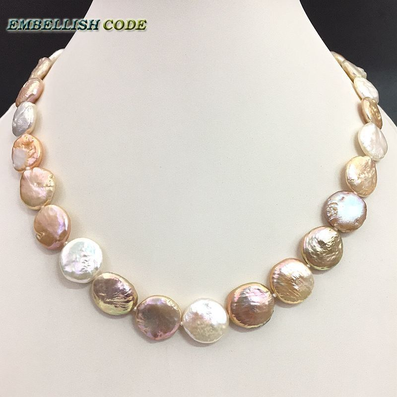 baroque pearl choker statement necklace mixed color round coin flat shape natural freshwater pearls fold face Orange peel effect