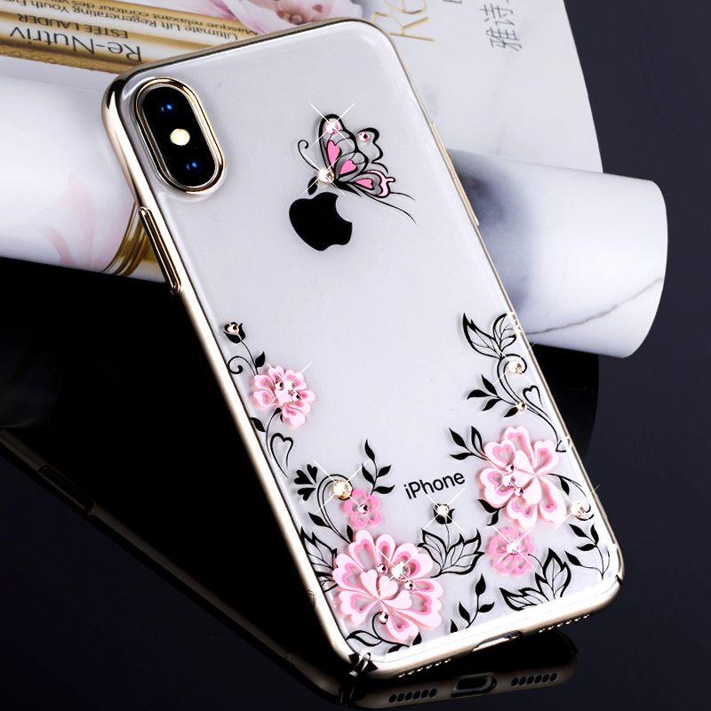 KAVARO für iPhone X 10 Cove Kristalle von SWAROVSKI Glitter Harte überzog Blumen Luxus Diamant Fall für iPhone X Fall Coque Funda