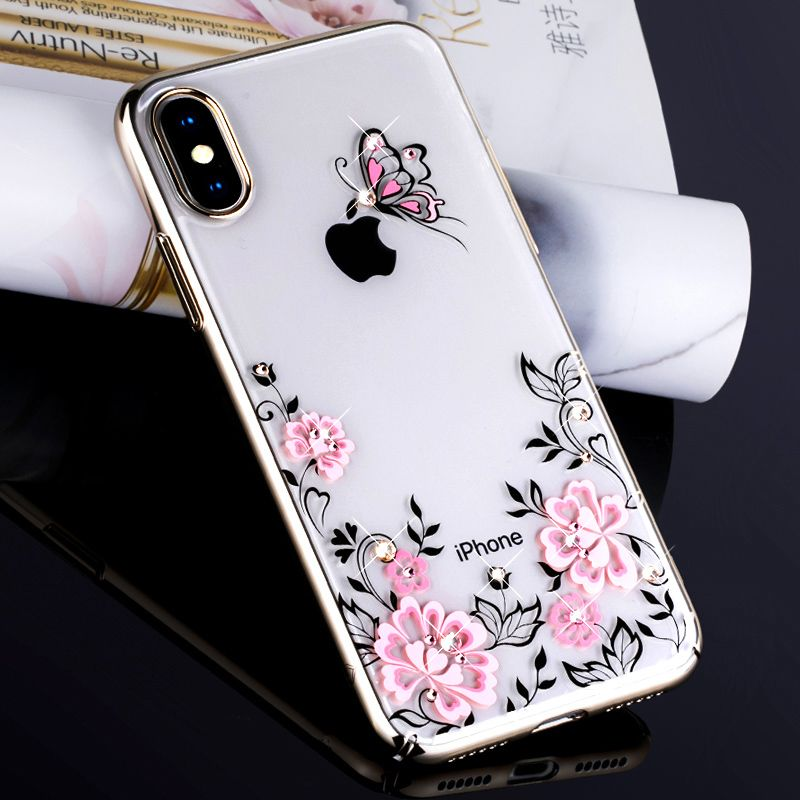 KAVARO for iPhone X 10 Cove Crystals from SWAROVSKI Glitter Hard Plated Floral Luxury Diamond Case for iPhone X Case Coque Funda