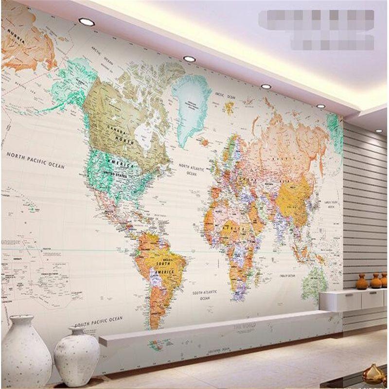 Beibehang papier peint personnalisé en tissu de soie 3d chambre papier peint élégant couleur claire version de la carte monde photo papier peint pour murs 3d