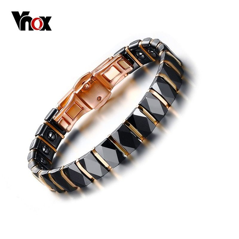 Vnox Hematite Bracelet Women Jewelry Healthy Black Ceramic Bracelets & Bangles