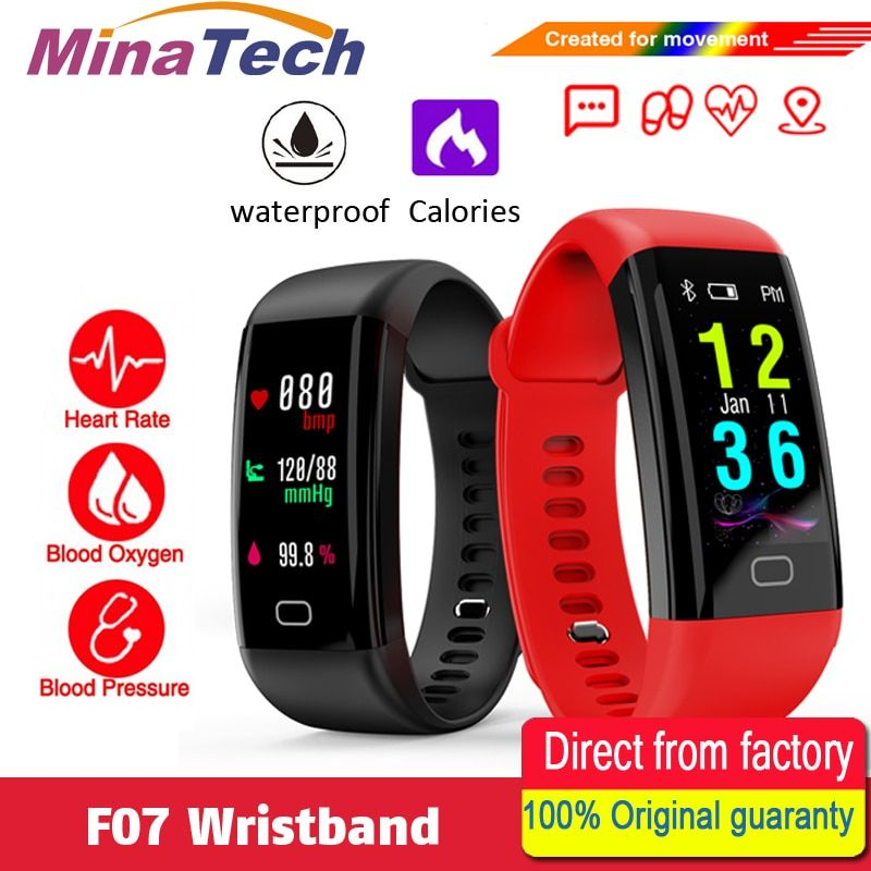 F07 Waterproof Smart Bracelet Heart Rate Monitor Blood Pressure Fitness Tracker Smartband Sport Watch for ios android or IOS