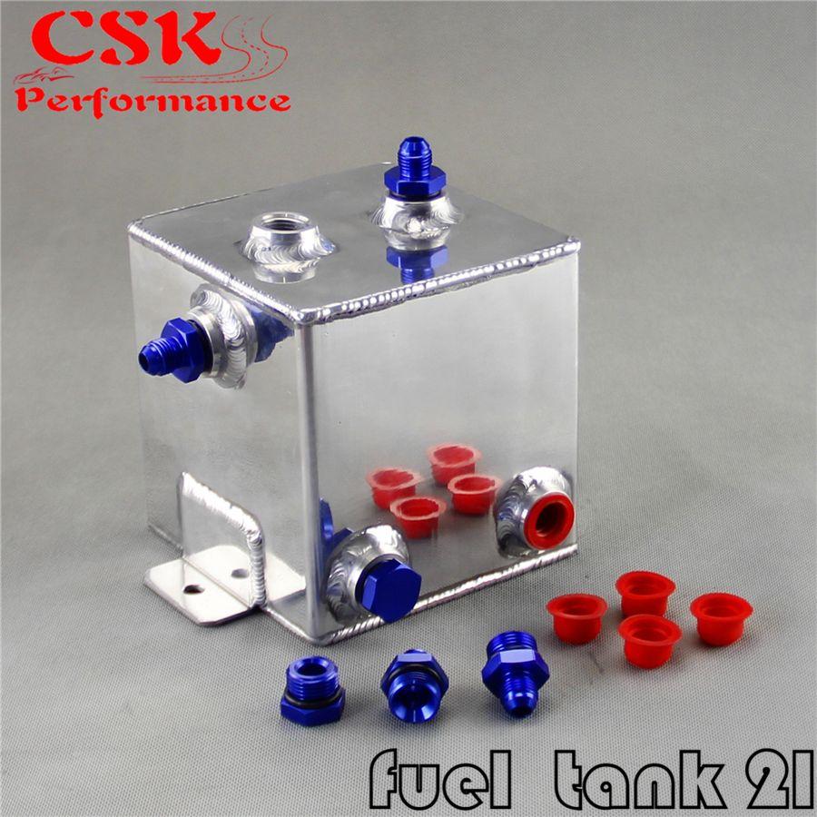 Universal Brennstoffdruckausgleichbehälter 2 Liter Schwalltopf-system Aluminium 2L ausgleichsbehälter SCHWARZ/BLAU adapter