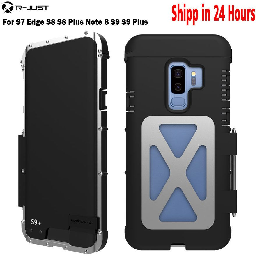 R-JUST Flip Case Iron Man Shockproof Metal Aluminum Anti-knock Case Back Cover for Samsung Galaxy S9 S9 Plus Note 9 8 S8 S7edge