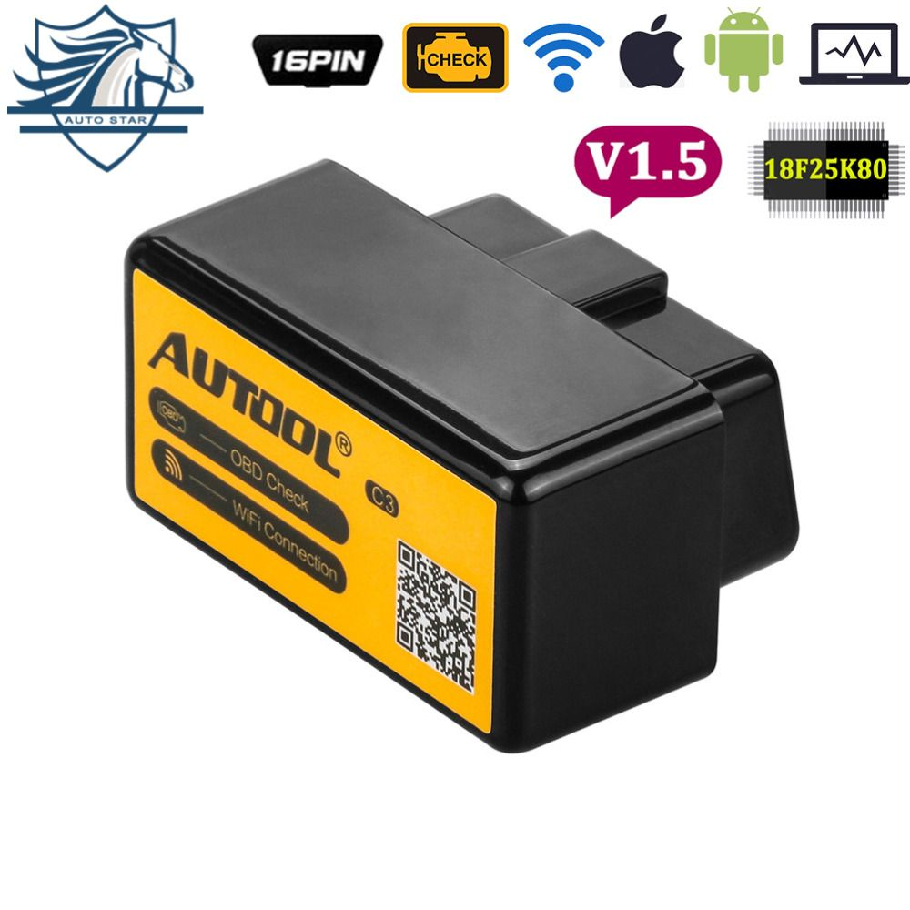AUTOOL C3 WiFi ELM327 V1.5 OBD2 Car Diagnostic Scan Tool For iPhone For iPad iPod With PIC18F25K80 Chips free shipping