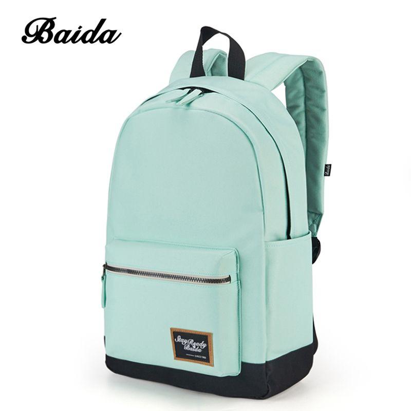 BAIDA Fashion Backpack Women Leisure Travel Rucksacks for Girls Teenager Cool Contrast Color Preppy Style School Bag
