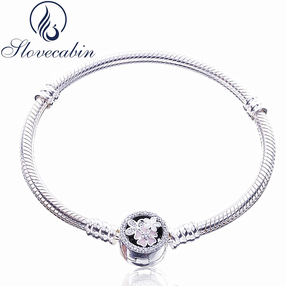 Slovecabin Classic 925 Sterling Silver Poetic Blooms CZ Clasp Bracelets For Women Pulseras Mujer Vintage Silver 925 Jewelry