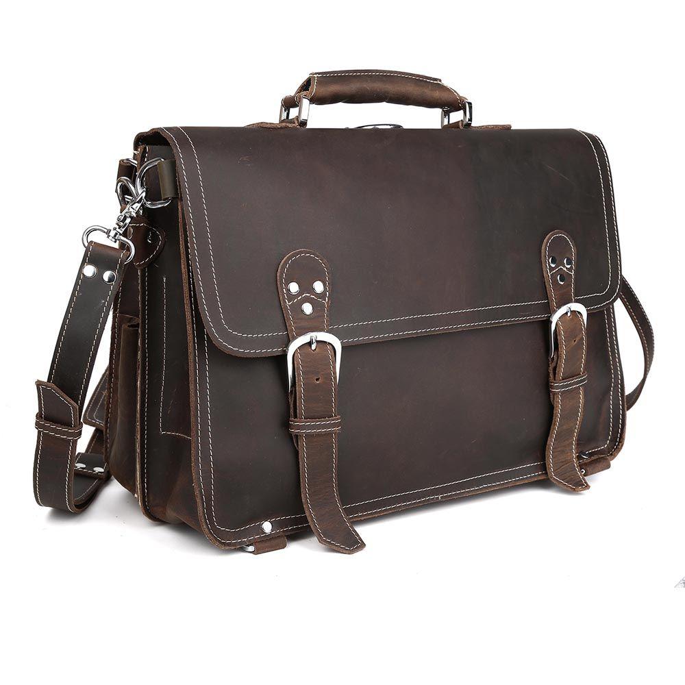 TIDING Männer wilden stil aktentasche echt leder laptop handtasche freizeit vintage stil 1059