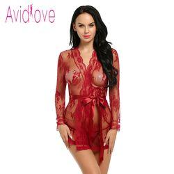 Avidlove Sexy Lingerie Robe Kleid Frauen Dessous Sexy Hot Erotic Plus Größe Nachtwäsche Sex Kostüme Kimono Bademantel Morgenmantel