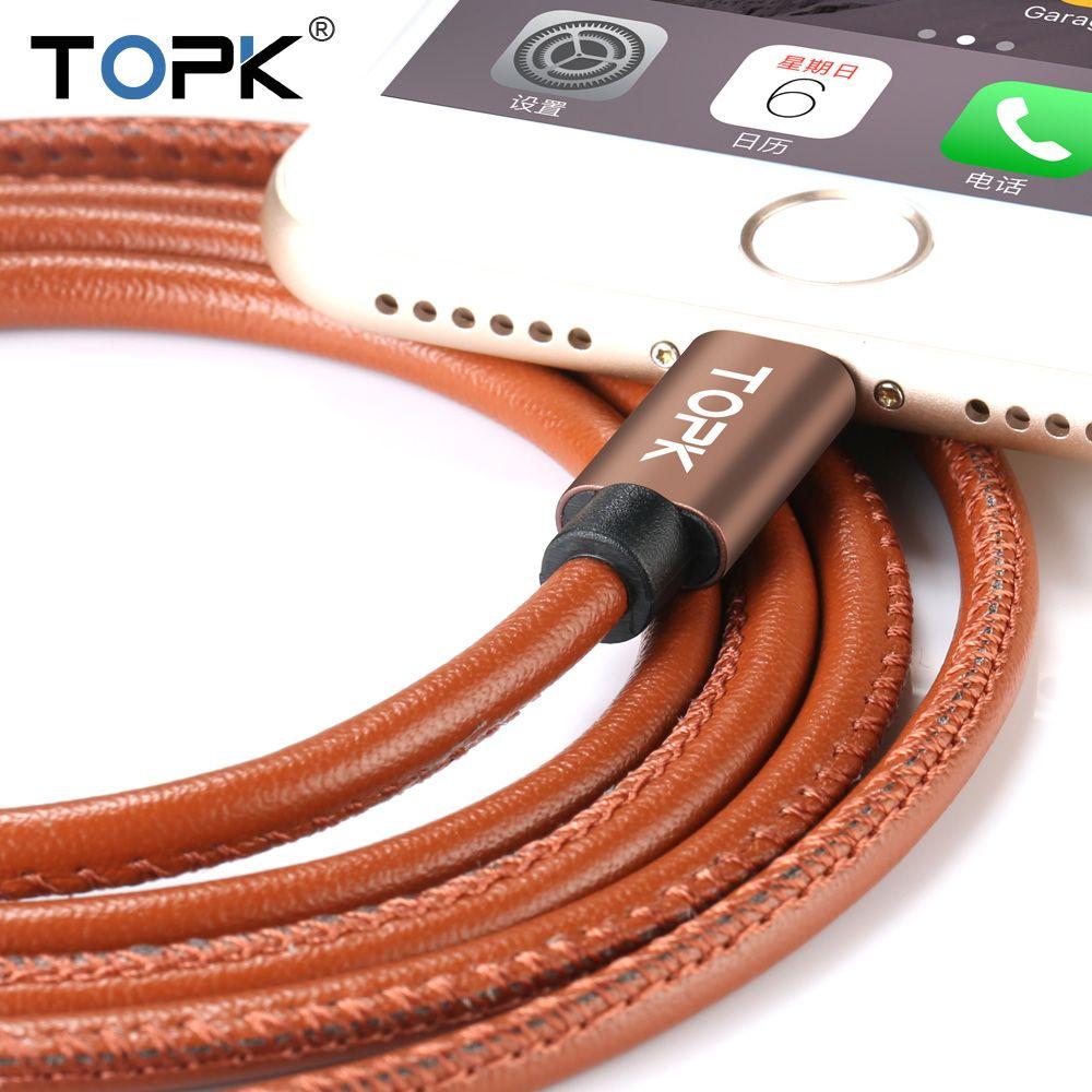 Topk Verbesserte Premium Leder Geflochtene Aluminiumlegierung Schnellladung Telefon Usb-kabel für iPhone 7 6 6 s Plus 5 s 5 iPadmini