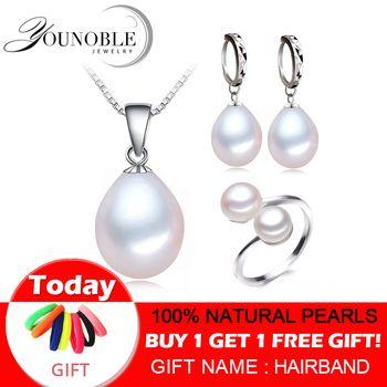 Verdadeira pérola de água doce conjunto de jóias mulheres, conjuntos de pérolas naturais 925 prata esterlina jóias engagement presente do aniversário da menina de qualidade superior
