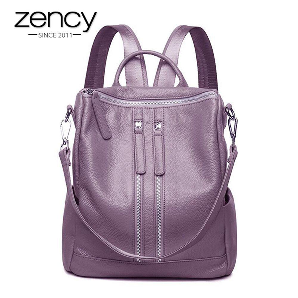 3 Way New Zipper Designer Fashion Genuine Leather Women Backpack Ladies Shoulder Bags Girl School Bag Bolsas Mochilas Femininas