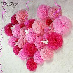 FENGRISE Свадебные украшения 5 шт. Pom Poms 25 см, китайская бумага искусственные цветы мяч ребенок душ вечерние ремесло день рождения поставки