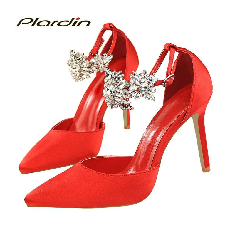 plardin New women Crystal Ankle Strap Metal Decoration Crystal shoes woman pointed toe Thin Heels women's Buckle pumps high heel